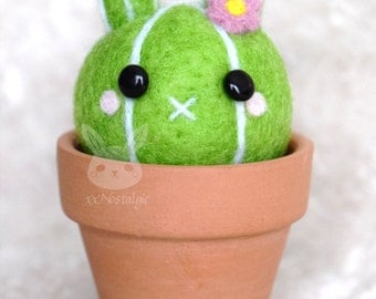 READY TO SHIP - Felted Bunny Cactus in a Terra Cotta Pot