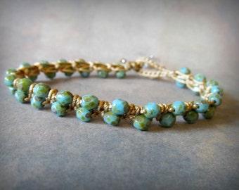 Boho Turquoise Bracelet, Crochet bracelet, Southwestern, Bohemian jewelry