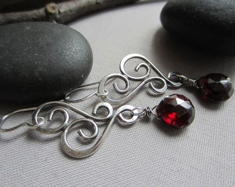 Garnet Earrings/ Sterling Silver Earrings/Oxidized Earrings with Garnet/ Silver Wire Earrings/ Artisan Garnet Earrings/January Birthstone