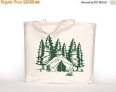 Clearance Camping Canvas Tote Bag-Screen Printed Cotton Grocery Bag-Large Canvas Shopper Tote-Market Bag-Reusable Grocery Tote Bag-Mountain
