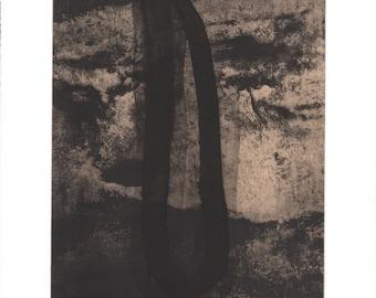 "Art Print . Fine Art Etching . Black, white +Tan. Abstract Landscape: ""Basalt 1"". Print Size 11"" x 13"". unframed"