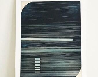 "CIJ SALE  - 50% OFF. use code { CIJSALE50}  Minimalist Art Print . Navy Blue :  Track 1 (state2) . Print Size 14"" x 18"" . Unframed ."