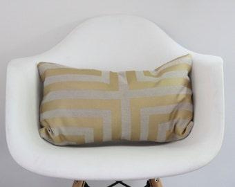 Doha lumbar pillow cover hand printed in metallic bronze on greige hemp