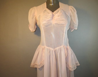 1930's Sheer Dress // Pink w/ Ruched Bust and Sleeves // Side Metal Zipper...