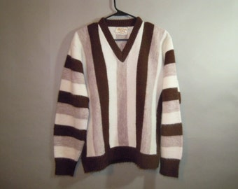 1960's Campus Orlon Sweater // Vee Neck, Long Sleeves // Brown White Vertical Stripes...m