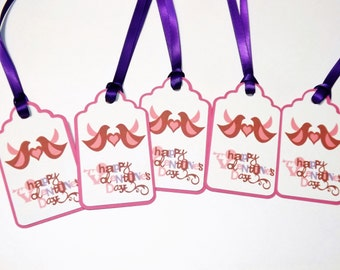 Happy Valentine Day Pink and Purple Love Birds Gift Tags Set of 5
