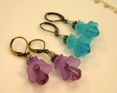 Turquoise Fairy Fantasy costume Lucite and Glass Pierced Earrings
