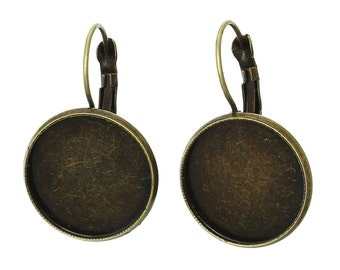 10 (5 pairs) bronze cabochon bezel setting lever back earring components, fits 20mm round inside tray fin0487