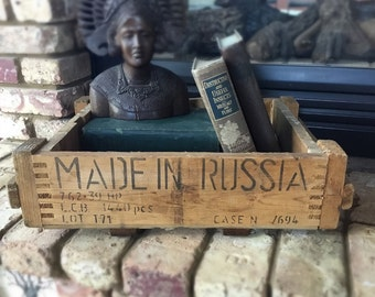 Vintage Wooden Russian Ammunition Crate