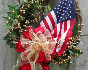 Patriotic Wreath, Americana Wreath, Fourth of July, Memorial Day, Military, Presidential Vote Decor, Elegant Patriotic Wreath, Flag Wreath