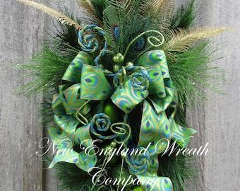 Christmas Swag, Christmas Wreath, Holiday Wreath, Holiday Centerpiece, Designer Christmas, Elegant Holiday Swag, Peacock Swag