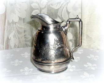 Antique Aesthetic Movement Silverplate Creamer Syrup Pitcher by Rogers & Bro.