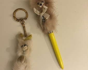 Vintage Mink Fur Dog Pen and Keychain