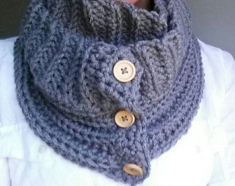 Infinity Scarf Crocheted Button Scarf Ready to Ship