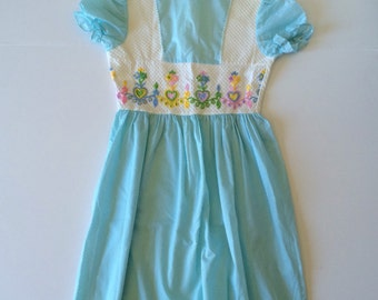1970's Swiss Dot Embroidered Maxi Dress (Kids 12)