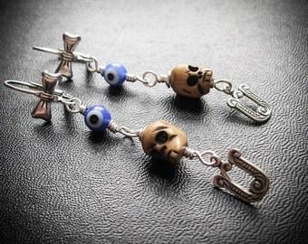 Eye Skull U Earrings.  Bad Day Rebus Earrings