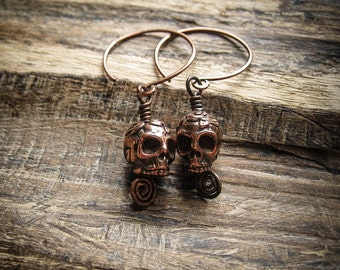 Sugar Skull Momento Mori, Gothic Skull Earrings in Copper with Hammered Wire Hoops