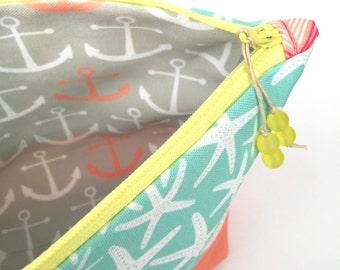 Blue Starfish Eco Make up Bag, Large Zipper Pouch, Diaper Bag Organizer, Recycled Cosmetics Bag, Glass Bead, Beach Holiday Gift, Coral Aqua