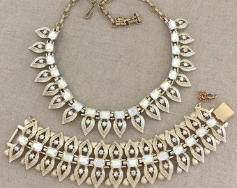 CORO Rhinestone Demi Parure, Rhinestone Necklace Set, Vintage Coro Rhinestone Bracelet Set, Statement Bracelet, Statement Necklace Set