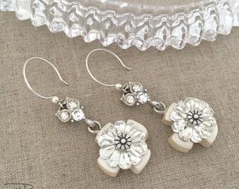 Handmade Rhinestone Cross Earrings - Rhinestone Dangle Earrings - Shabby Chic Cross Earrings - Christian Faith Jewelry