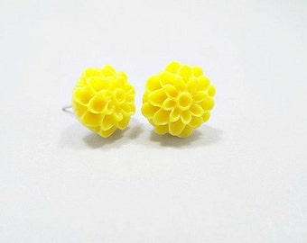 Sunflower Yellow Dahlia Stud Earrings