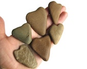 16 Heart Shaped Rocks - Natural River Beach Stones - Valentines Day Decor