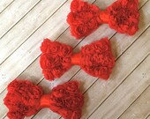 "3 shabby bows RED Small 3"" Rosette Bows DIY shabby chic chiffon rose fabric small bows  baby headband bows -shabby bow ties wholesale bows"