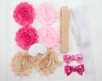 Lil' Sweetie Mini Kit - Headband Starter Kit - Coordinating Elastic and Flowers to create hairbands