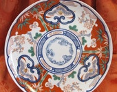 CLEARANCE - Georges Briard Heirloom Plate - 10-3/8 - Imari Style, Asian, Retired, white, orange, blue, flowers, birds, bamboo