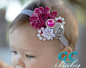 Fabric Flower Hair Accessory - Silver Hot Pink, Grey, White with Pearls, Rhinestones - You Choose Hair Clip or Headband