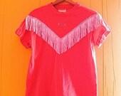 on sale Cowgirl Shirt/Fringed Blouse/Western Style/Embellished Vintage Shirt/Bedazzled/Vintage Fashion/Pink Southwestern Shirt/Beaded Blouse