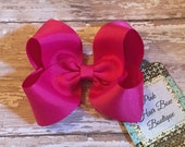 Fuchsia hair bow , fuchsia hair clip , fuchsia HairBow, school hair bow , fuchsia boutique hair bow , hair bows for girls