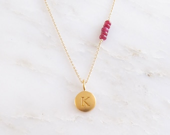 Gold Initial & Birthstone Necklace - Initial Necklace - Birthstone Necklace - Monogram Jewelry - Personalized Jewelry