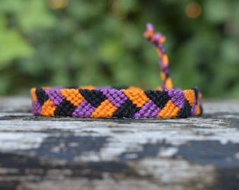 Friendship bracelet, knotted fall bracelet, cotton bracelet, violet orange black bracelet, braid pattern (ready to ship)