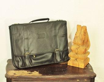 Vintage Unisex Laptop Bag Attache' Case Briefcase Black Leather Bill Blass Business Portfolio Tote Mens Corporate Collegiate Messenger