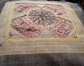 Antique Turkoman hat hand embroidered silk cushion cover