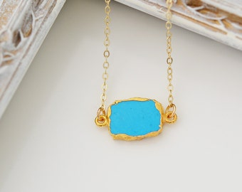 Turquoise Slice Necklace, Bezel Set Turquoise Necklace in Gold, Gold Pendent Necklace, Gold Turquoise Necklace