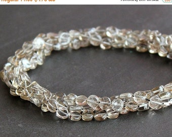 CLEARANCE SALE - Smoky Quartz Puffed Coin Gemstone Beads 6-7mm FULL Strand (15 Inches)