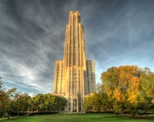Cathedral of Learning in Autumn, University of Pittsburgh, Fine Art Photograph, PIT, Fall Foliage, Architecture,  Wall Art Print