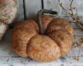 Primitive Farmhouse Orange Fabric Pumpkin Bowl Filler, Halloween Fall Harvest Decor