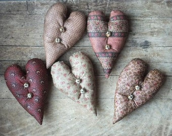 Primitive Heart Bowl Fillers, Primitive Valentine Decor, Cottage Chic, Farmhouse, Victorian Decor