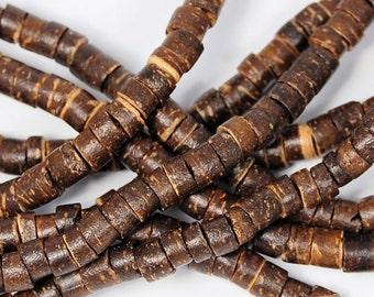 Brown Coconut Shell Heishi 6mm -22 inch strand