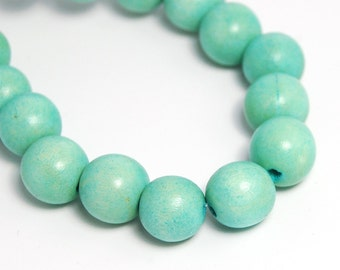 10mm Seafoam Green Wood Beads -16 inch strand