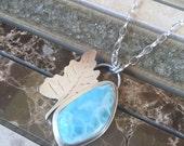 Larimar Sterling Silver Leaf Necklace