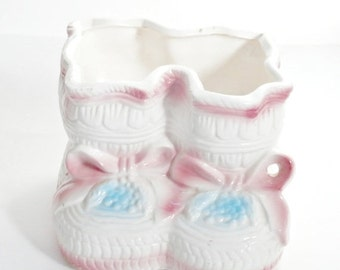 vintage ceramic baby booties with bows planter catch all ~retro pink blue planter baby shower gift mid century kitsch nursery decor