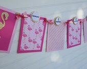Baby's 1st Year Photo Banner,  Flamingo Banner, Girls Birthday Banner, pink and gold banner.  First Birthday Banner.  Let's Flamingle Banner