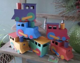 Colorful Train Favor Box Set of 12