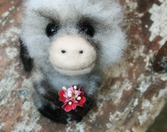 Needle Felted Fuzzy Wooly Monkey Sculpture- Ready For Adoption