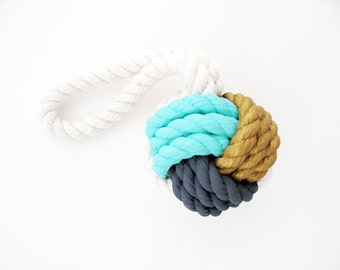Gold, Aqua & Gray Hand-Painted Monkey's Fist Knot - Large