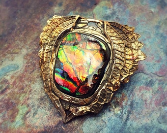 Fiery Ammolite Artisan Bronze PMC Leaf Pendant